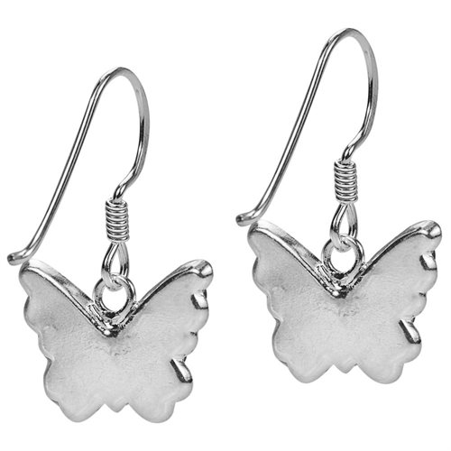 Cute White Butterfly CZ Flutter .925 Silver Dangle Earrings 2