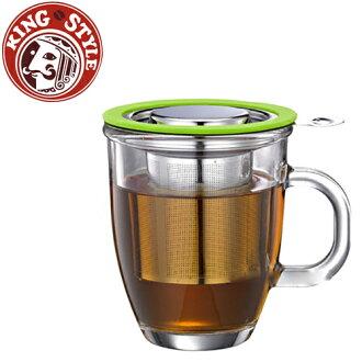 金時代書香咖啡 Tiamo 亮彩附蓋不鏽鋼濾網 玻璃馬克杯445ml 綠色