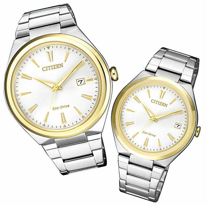 CITIZEN 星辰錶 ( AW1374-51B+FE6024-55B ) 時尚大三針光動能對錶 / 白面41+35mm