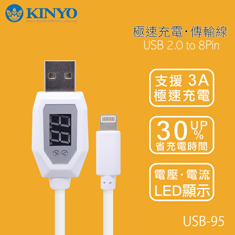 KINYO 耐嘉 USB-95 Apple IPHONE 蘋果極速電壓電流充電傳輸線/3A 極速充電/LED顯示傳輸充電線/Apple iPhone 6/6S/6 Plus/6S Plus/7/7 Plus/SE/5S/5/iPad Pro/Air/mini/iPod nano 7