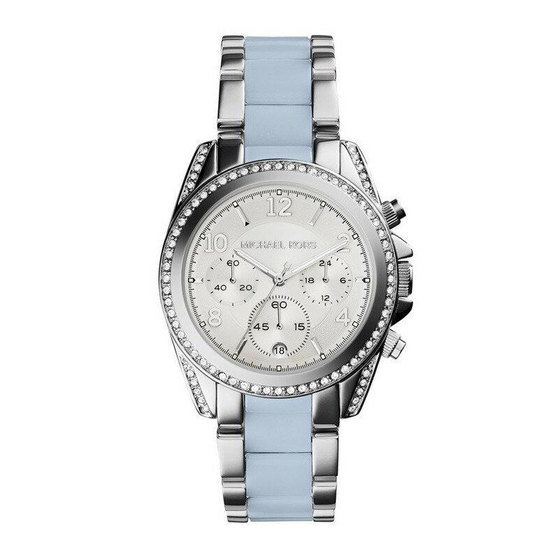 美國Outlet 正品代購 Michael Kors MK 三環 淺藍精鋼 滿鑽 手錶 腕錶 MK6138 2