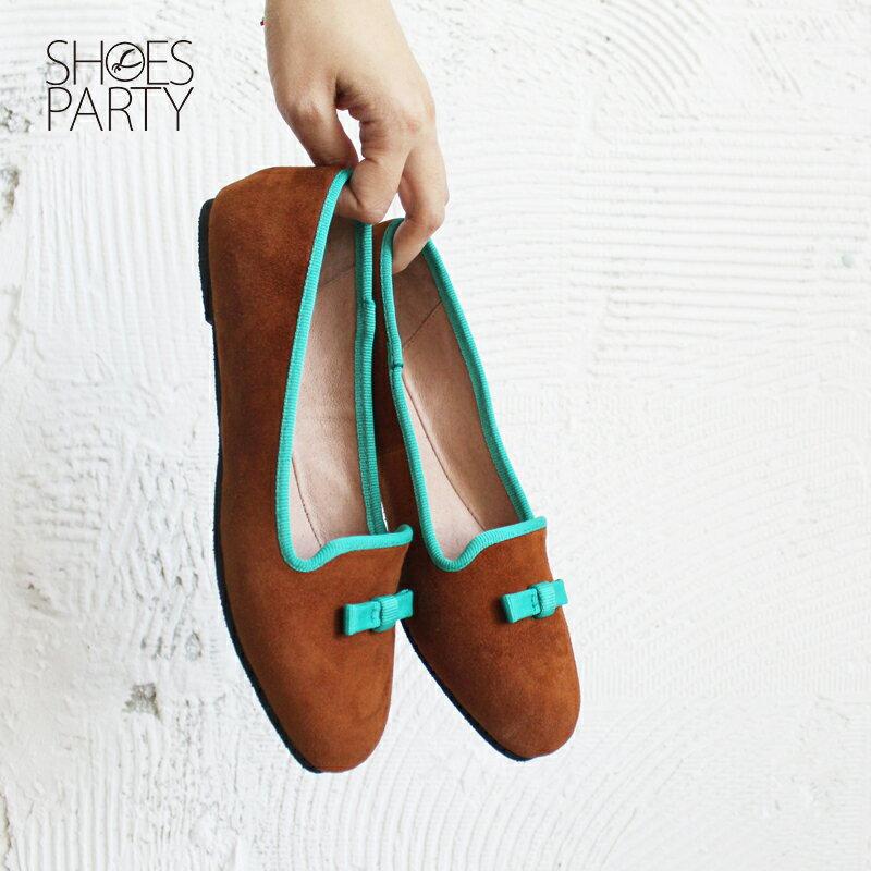 【C2-17117L】四季皆可穿,真皮小方頭蝴蝶結便鞋_Shoes Party 3