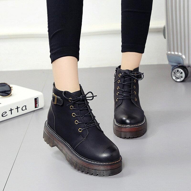 韓國 短靴 款純色厚底防滑耐穿膠底單靴圓頭綁帶學生靴百搭馬丁靴軍靴
