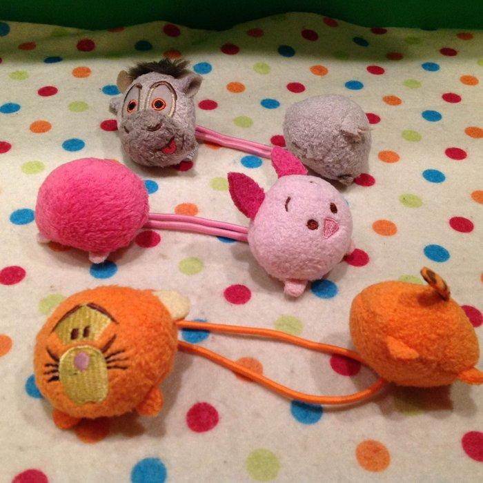 =優生活=日本迪士尼可愛tsum tsum跳跳虎 維尼 小豬 驢子雙頭髮束 髮圈 兒童髮飾