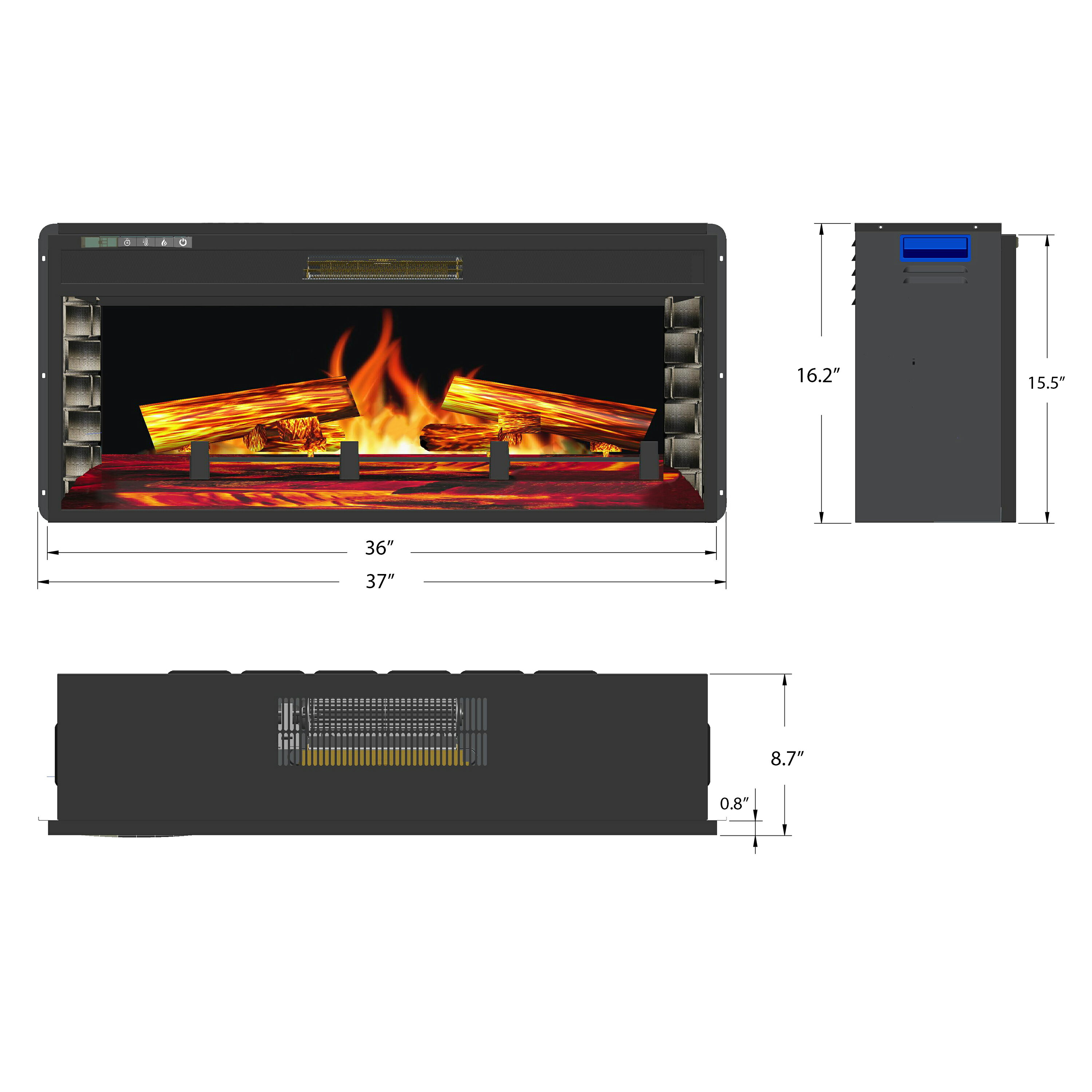 """AKDY 36"""" Freestanding Insert 3D Flame 22 Setting Fireplace Stove w/ Remote 1"""