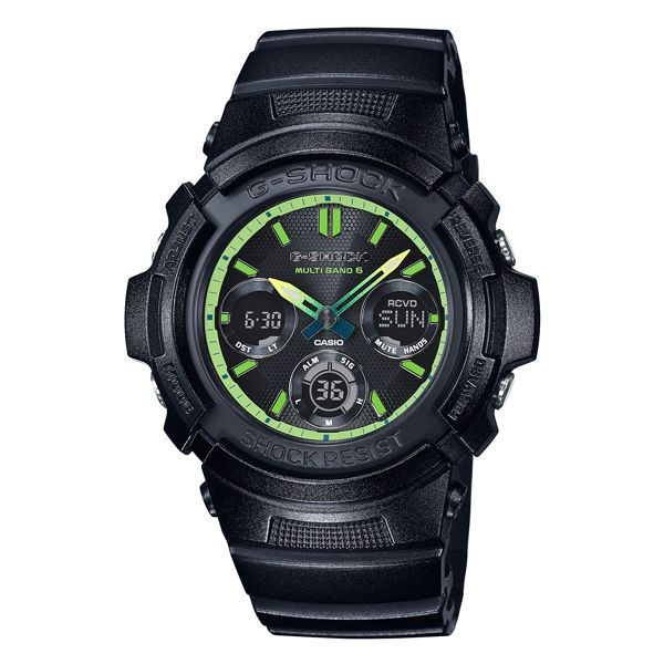 CASIO G~SHOCK AWG~M100SLY~1A電波萊姆綠雙顯 腕錶 綠面46mm