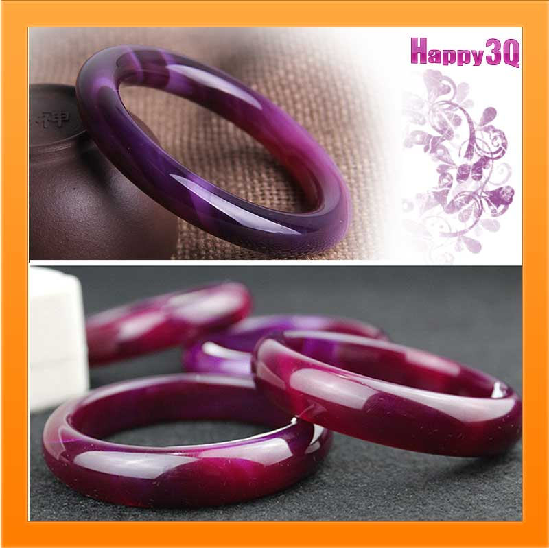 送禮自戴紫玉髓天然瑪瑙水晶玉鐲紫手鐲玉鐲兩款-圓條/玉鐲【AAA1049】