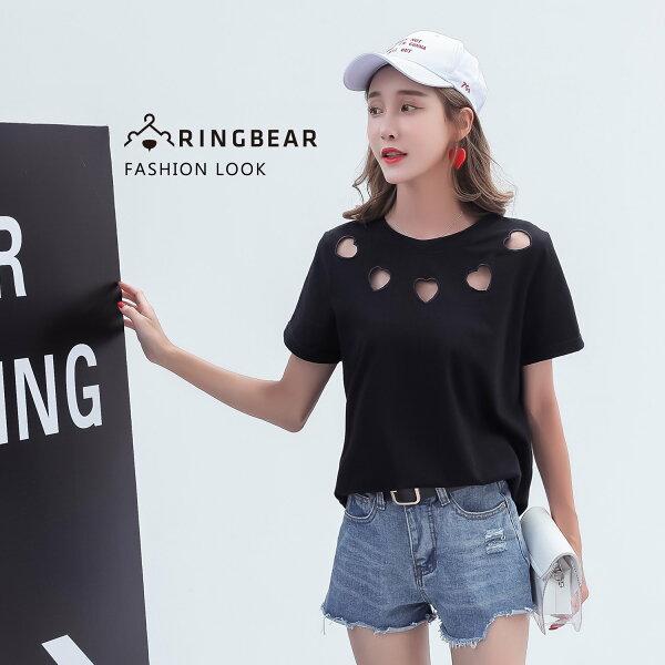 T恤--休閒風個性刺繡鏤空甜美愛心寬鬆修身黑色圓領短袖棉T(黑L-4L)-T333眼圈熊中大尺碼