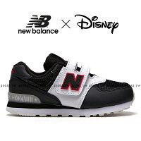 New Balance 美國慢跑鞋/跑步鞋推薦Shoestw【YV574DSA】NEW BALANCE NB574 Disney 迪士尼 運動鞋 黏帶 中童鞋 Wide 米奇 黑白紅