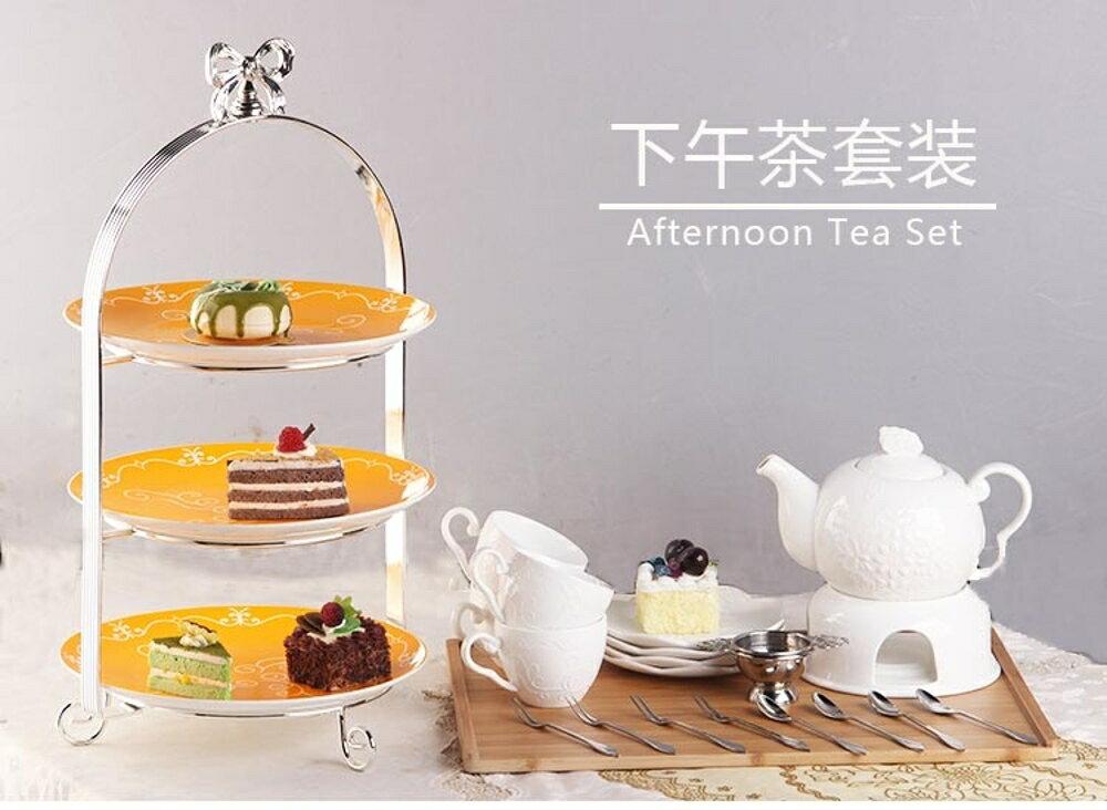 HYU下午茶點心架蛋糕歐式家用陶瓷雙層水果盤三層甜品臺零食托盤【限時特惠】LX