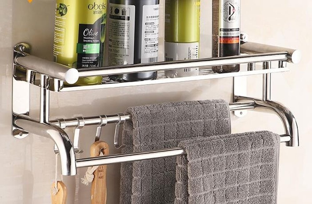 置物架 / 浴室不銹鋼免打孔衛生間雙層毛巾架壁掛廁所2層3層衛浴掛件 維多原創 免運 1