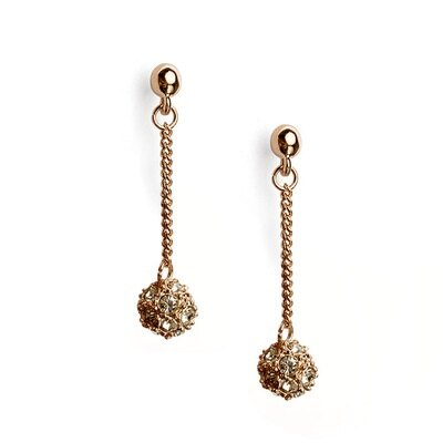 玫瑰金耳環925純銀鑲鑽耳飾~簡約流蘇圓球 七夕情人節 女飾品73gs206~ ~~米蘭