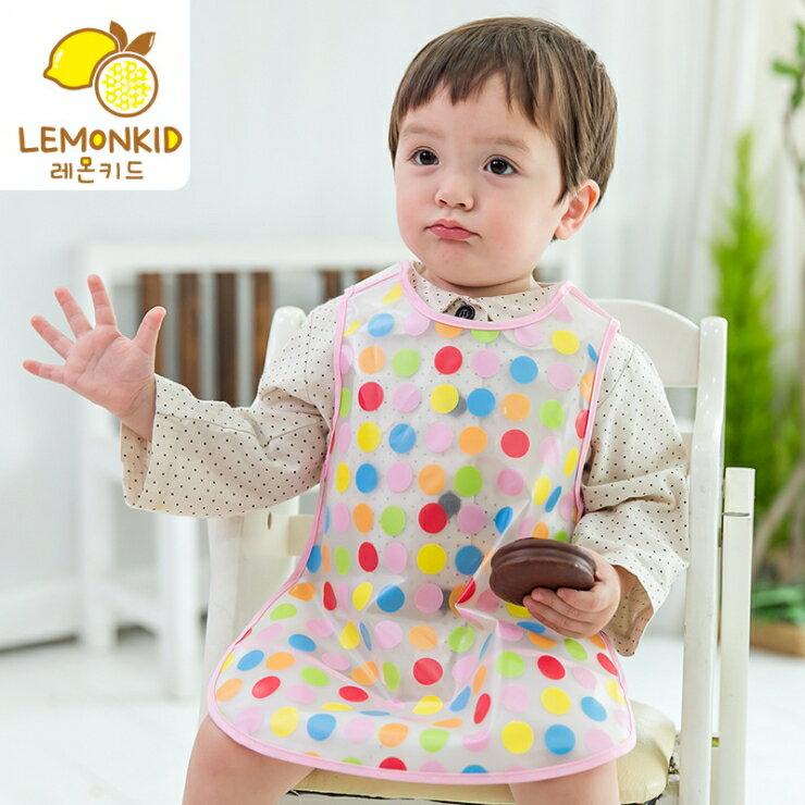 Lemonkid◆ 可愛多款卡通動物透明兒童防髒防水吃飯圍嘴圍兜~彩色圓點