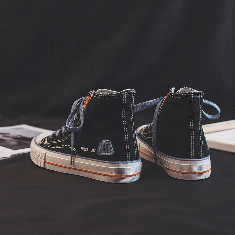 2021春季新款韓版高幫帆布鞋女ins學生平底跑步板鞋女街拍鞋W681