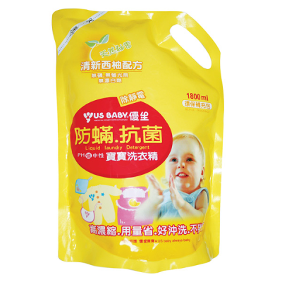 優生 防虫滿抗菌寶寶洗衣精補充包-西柚(1800ml)