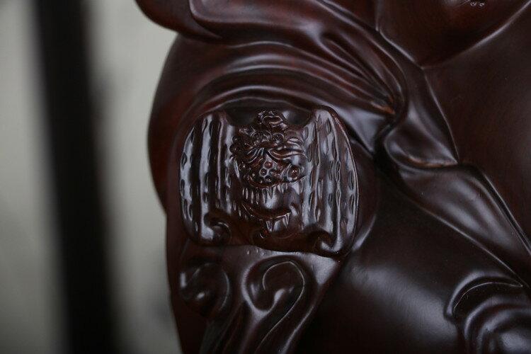 黑檀木雕笑佛蝙蝠迎福實木雕刻