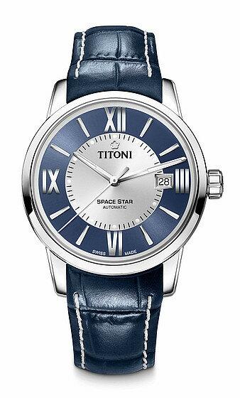 TITONI瑞士梅花錶天星系列83538S-ST-580圓弧羅馬經典腕錶/藍皮帶款40mm