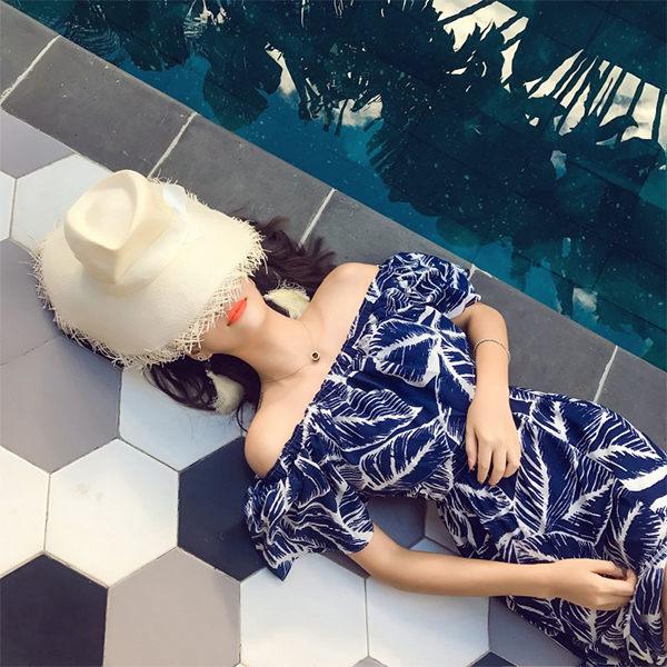 PSMall波西米亞沙灘裙荷葉領雪紡連身裙開叉性感長裙洋裝【T102】