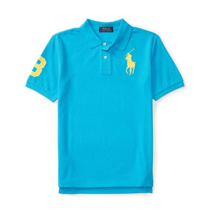 美國百分百【Ralph Lauren】Polo 衫 RL 短袖 網眼 上衣 黃色大馬 男款青年版 XS S號 湖水藍 B003