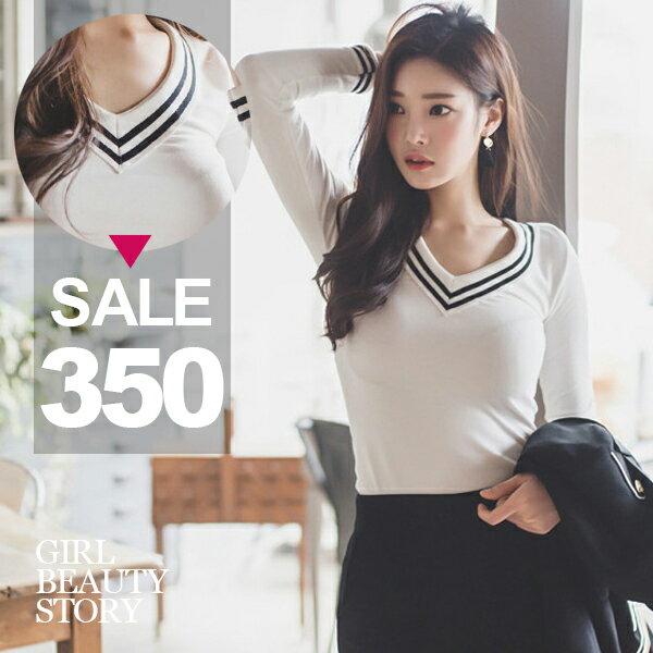 SISI【L6061】韓版優雅甜美黑白條紋滾邊V領修身顯瘦長袖針織衫上衣