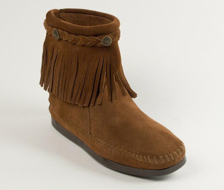 【Minnetonka 莫卡辛】深棕色 - 麂皮後拉鍊流蘇莫卡辛短靴 0