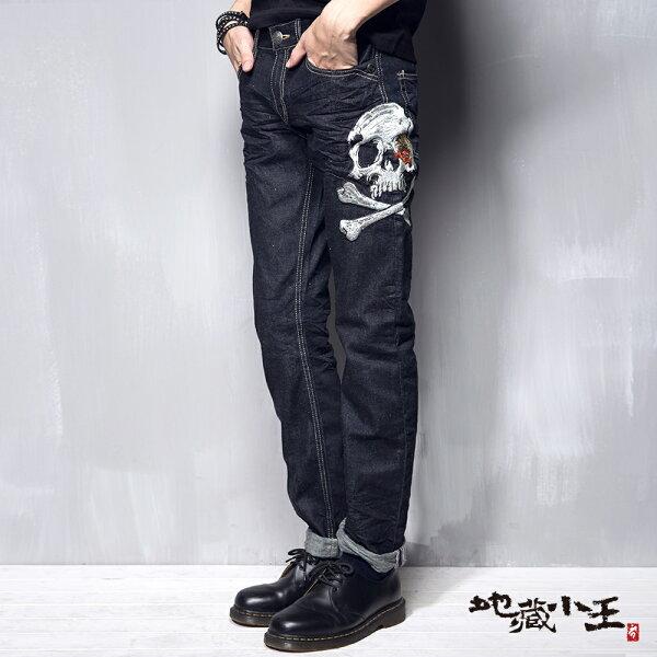 【均一價1580】地藏骷髏精繡低腰直筒褲-BLUEWAYJIZO地藏小王