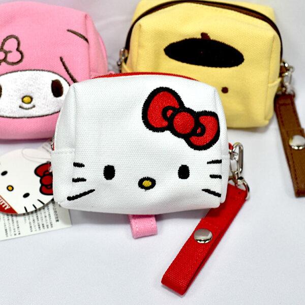 三麗鷗HelloKitty凱蒂貓帆布拉鍊化妝包錢包收納包日本正版商品