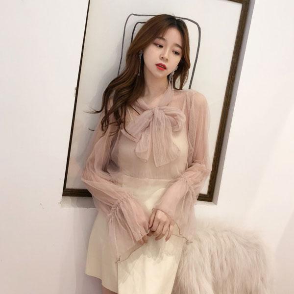 兩件組蝴蝶結網紗內搭背心襯衫上衣套裝長袖喇叭袖透膚透視性感女神氣質婚宴仙女韓國ANNAS.