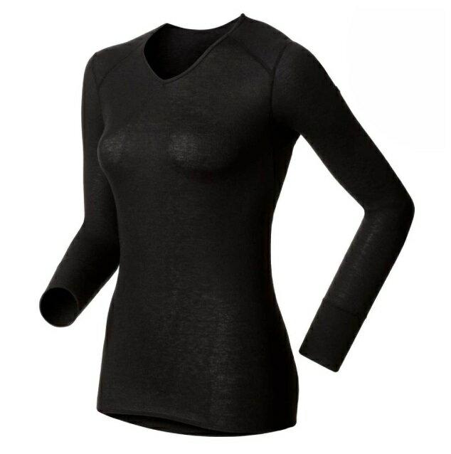 【【蘋果戶外】】odlo 190881 女V領 黑『送polartec手套』瑞士 機能保暖型排汗內衣 衛生衣 發熱衣 保暖衣 長袖