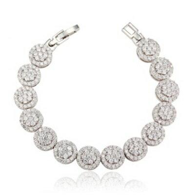 ~純銀手鍊 鍍白金鑲鑽手環~ 氣質璀璨奢華七夕情人節 女飾品73cv6~ ~~米蘭 ~