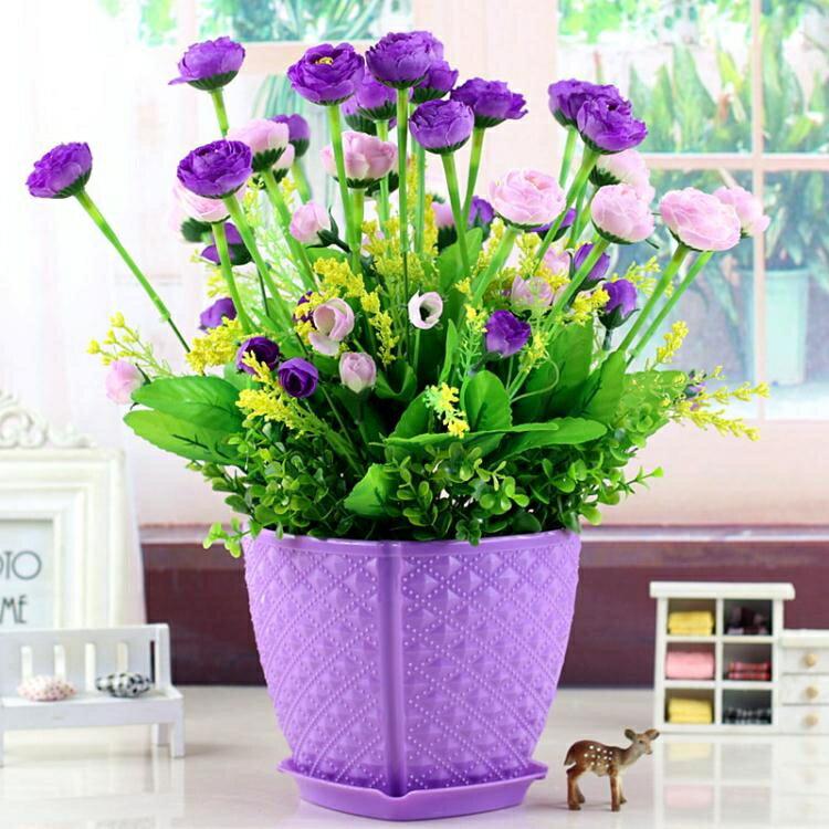 家居套裝飾品客廳餐桌塑料仿真假干絹花植物擺件室內臥室擺設盆栽