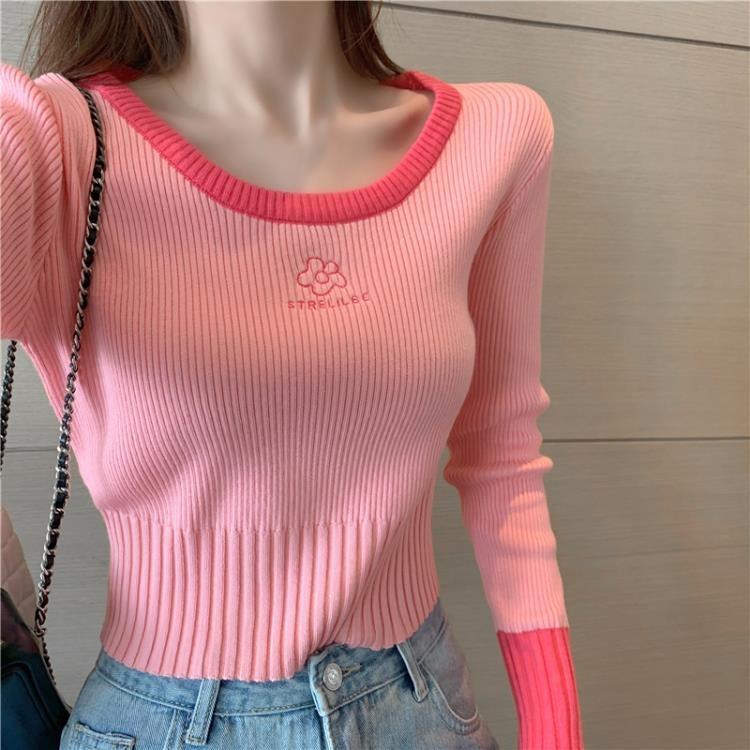 秋季2021新款溫柔風修身長袖針織薄款打底衫女裝顯瘦百搭短款上衣 凡卡時尚
