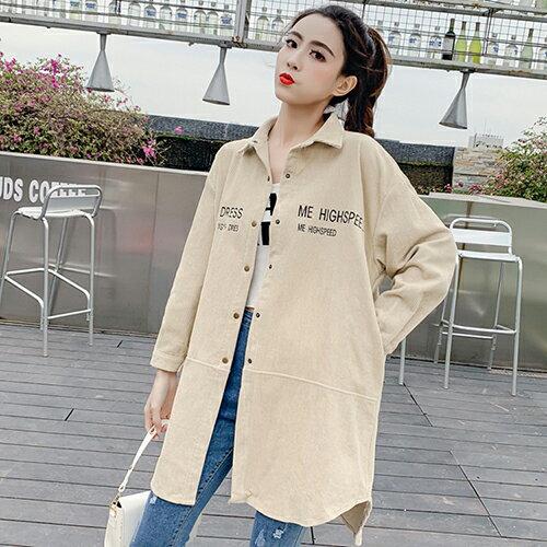 復古燈芯絨中長款不規則休閒襯衫(3色S~XL)【OREAD】 3