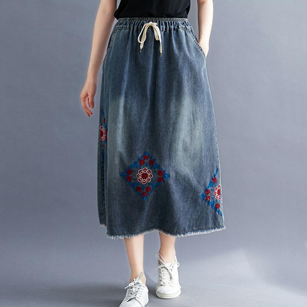 鬆緊腰刺繡牛仔半身裙(藍色L,XL)*ORead* - 限時優惠好康折扣