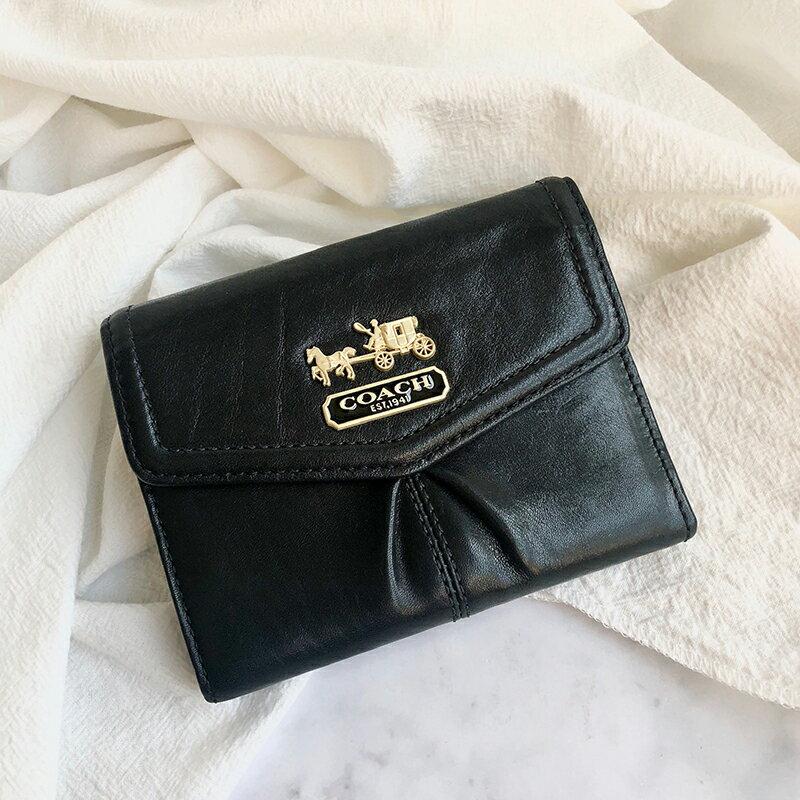 美國百分百【全新真品】COACH 短夾 皮夾 精品 卡夾 錢包 證件夾 零錢袋 皮革 女包 logo 黑色 C220