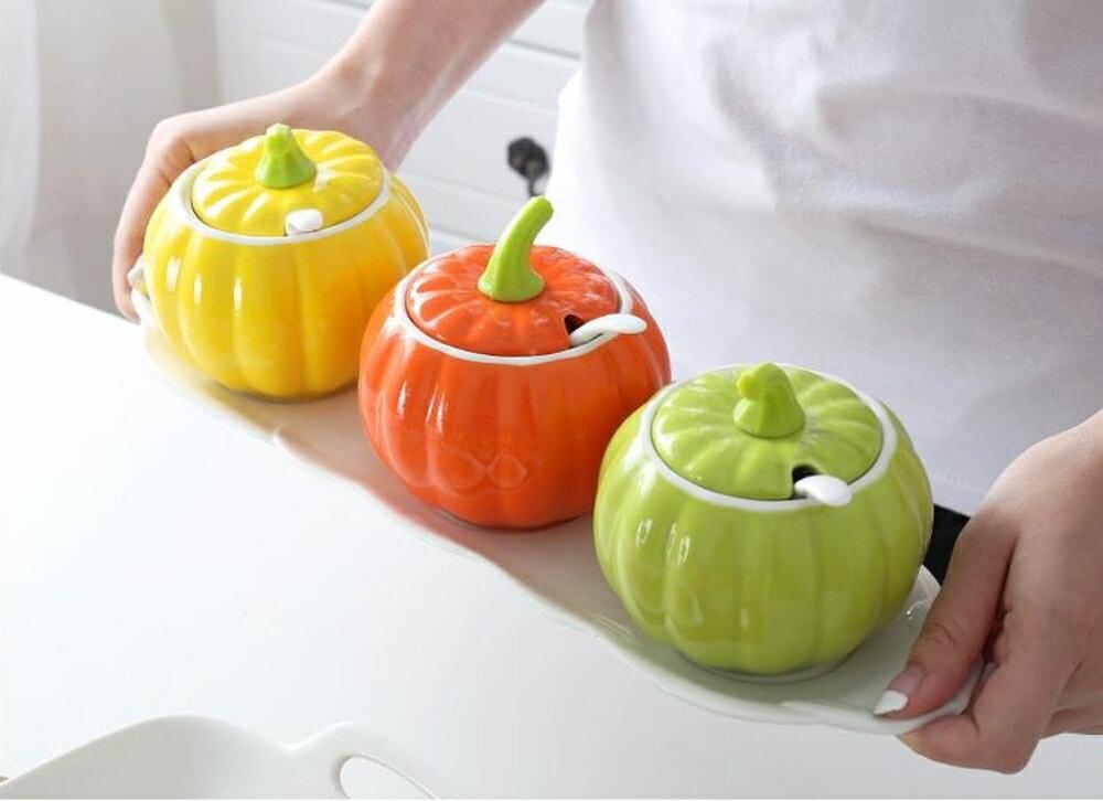 調味罐 創意廚房陶瓷調味瓶罐三件套調料罐調料盒組合裝鹽罐辣椒油罐家用    瑪麗蘇