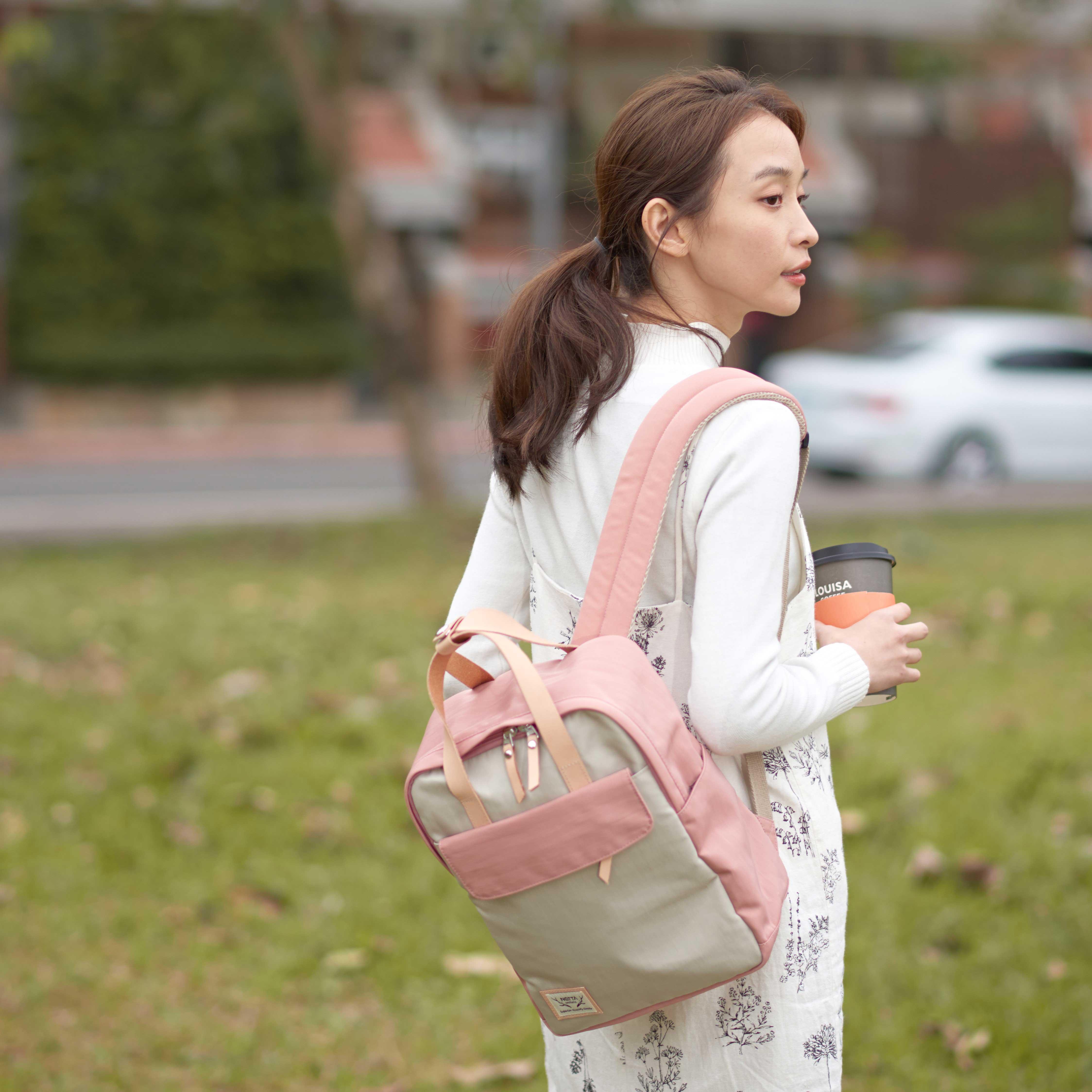 防潑水後背包 / 野餐系列 / 粉紅x米白 / 尺寸S號【NETTA】 5