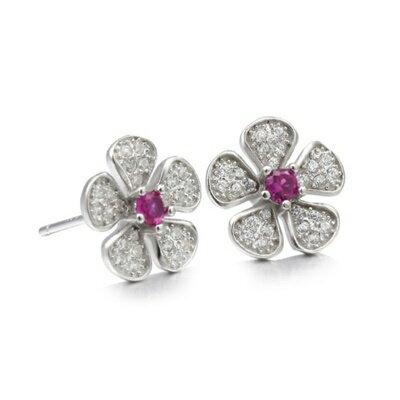 925純銀耳環鑲鑽耳飾~奢華 花朵 生日情人節 女飾品2色73dm18~ ~~米蘭 ~