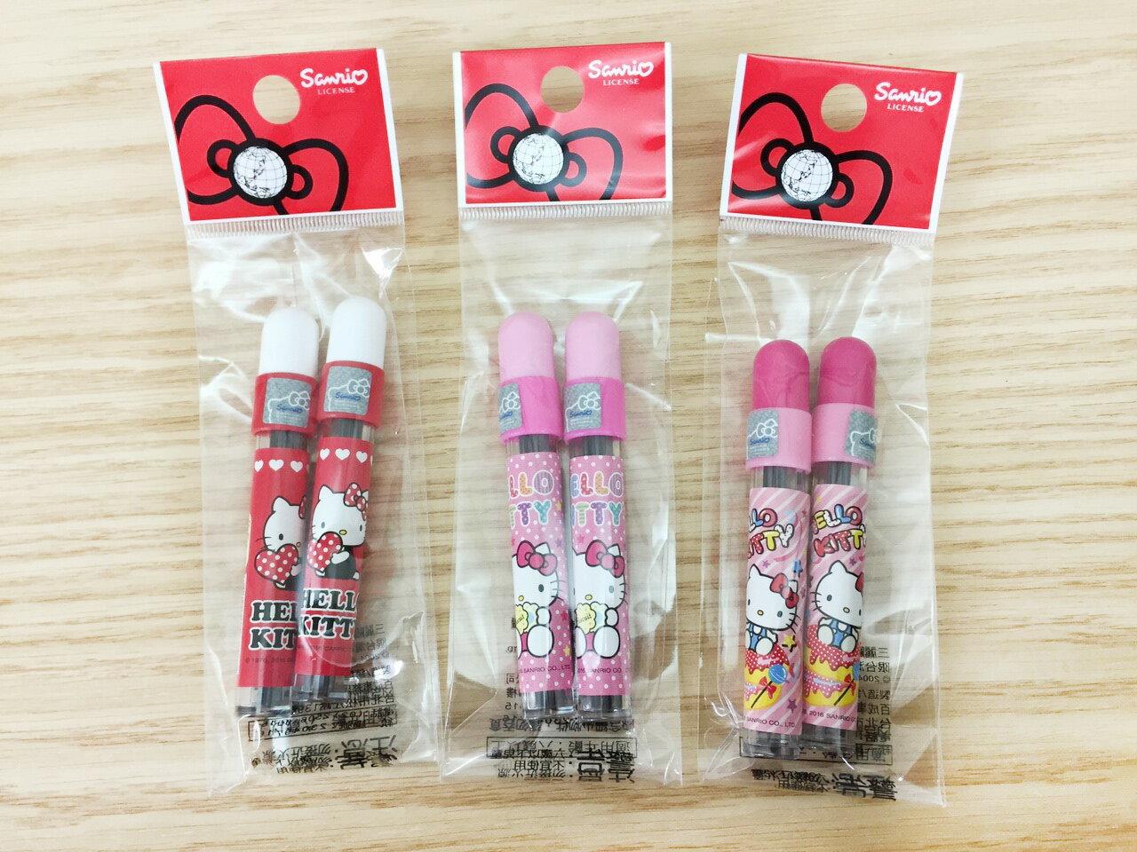 【真愛日本】16011400029 圓鉛芯筒2入-KT三款 KITTY 凱蒂貓 三麗鷗 文具 筆芯 鉛筆芯