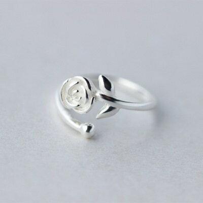 925純銀戒指開口戒~高貴大方玫瑰花 情人節生日 女飾品73dt104~ ~~米蘭 ~