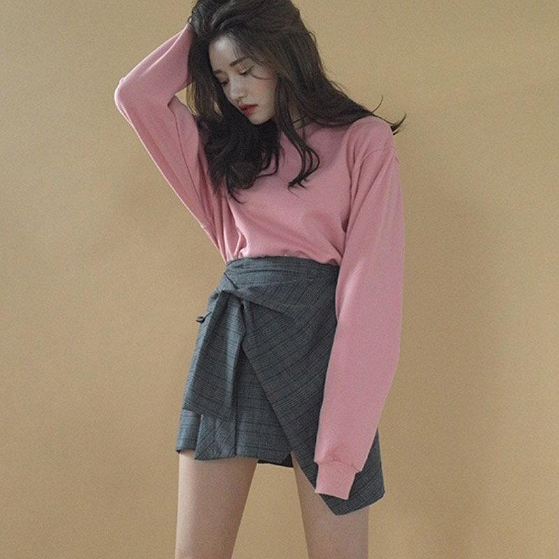 PS Mall 韓國  格子繫帶不規則雙層 半身裙短裙~T4225~ ~  好康折扣