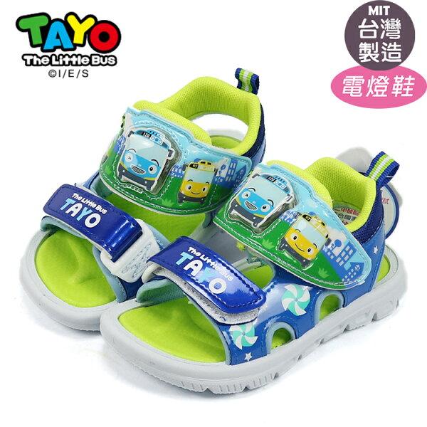 TAYO泰路小巴士可調整魔鬼氈閃亮電燈涼鞋.兒童涼鞋藍15-20號~EMMA商城