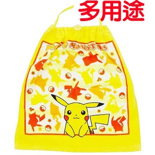皮卡丘神奇寶貝圍兜手帕巾小物包三用多功能手巾日本正版