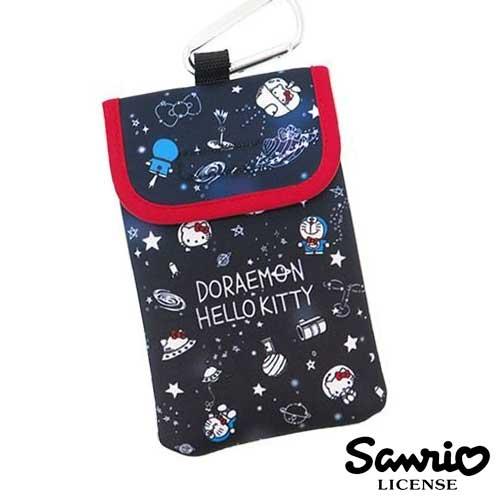 深藍款【日本進口正版】哆啦A夢 x Hello Kitty 防震手機套 保護套 附金屬掛勾 三麗鷗 - 412647