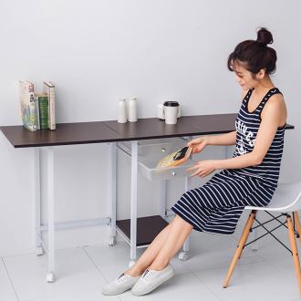 廚房架 收納櫃 邊桌【TA-041】多功能雙開附抽屜大折疊桌/工作桌 生活巧思