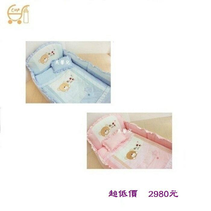 *美馨兒* 東京西川 GMP Baby-[卡其熊]抗蹣菌七件組/嬰兒床組(二色可挑) 2980元