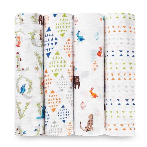 美國aden+anais輕柔新生兒包巾(4入)-動物幾何系列AA2057【悅兒園婦幼生活館】