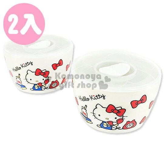 〔小禮堂〕Hello Kitty 陶瓷附蓋碗~小.2入.白.打電話.蝴蝶結.320ml~