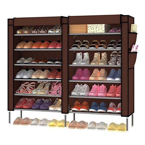 7 Tier Portable Shoe Rack Organizer 36 Pair Shoe Storage Cabinet Beige  SR120H 0