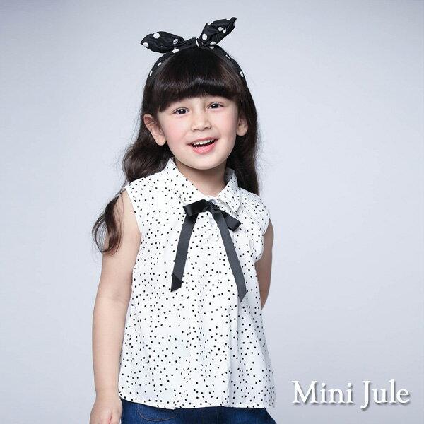 《MiniJule童裝》上衣滿版點點綁帶傘擺無袖上衣(米白)
